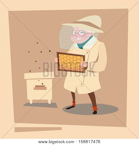 Farmer Senior Woman Gather Honey From Bee Hive Apiary Farm Flat Vector Illustration