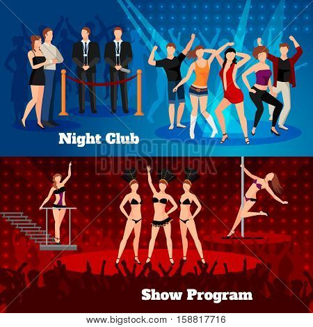 Night club erotic pole dance show program 2 flat horizontal banners with sexy girls  isolated vector illustration