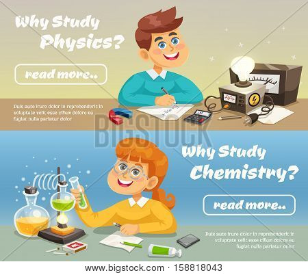 Science horizontal banners with smiling children studying school subjects in flat style vector illustration