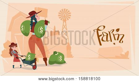 Farmer Country Woman Hold Big Money Sack Success Agriculture Business Flat Vector Illustration