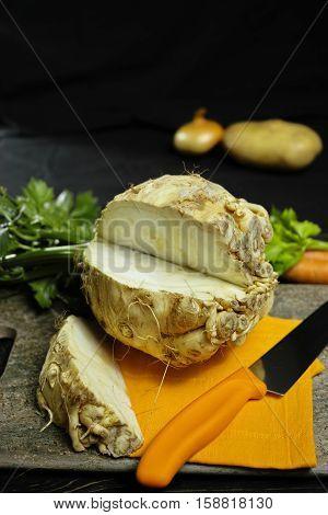 Celery root - celeriac source of vitamine fresh healthy vegetable wedge