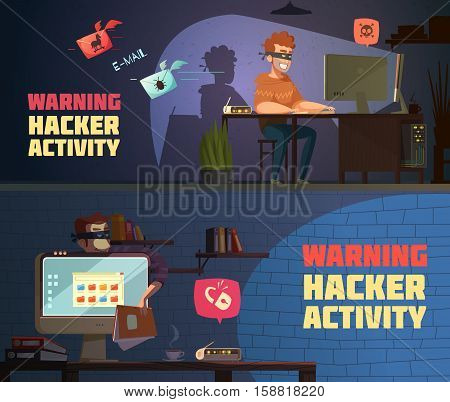 Warning hacker activity 2 retro cartoon horizontal banners with criminal breaking computer security passwords isolated vector illustration