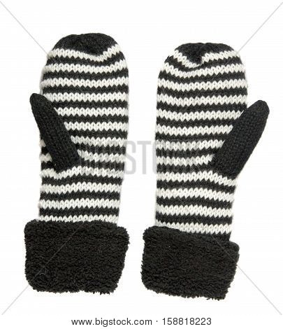 Mittens Isolated On White Background. Knitted Mittens. Mittens Top View.mittens Is Black With White