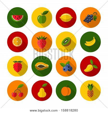 Set of different fruits and berries icons. Flat design illustration with long shadow