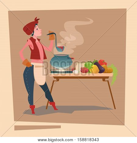 Farmer Country Woman Cooking Dinner Cartoon Character Flat Vector Illustration