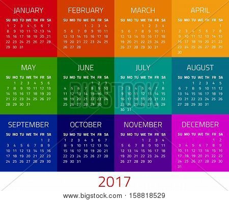Colorful calendar for 2017 year. Week starts sunday. Design template