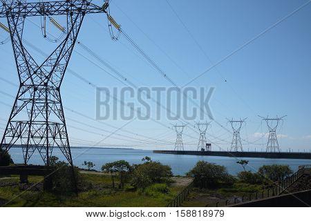 Power transmission tower Itaipu dam Brazil hydroelectric