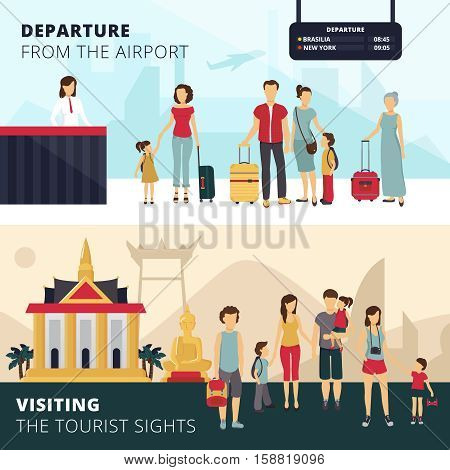 Travelers departure from airport and visiting places of interest 2 horizontal banners for tourists abstract vector illustration