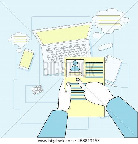 Hands Hold CVV Resume Employment Workplace Desk Laptop Computer Top Angle View Vector Illustration