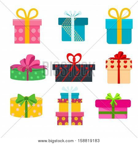 Vector set of different gift boxes. Flat gift box decoration design. Present box holiday surprise birthday gifts and gifts paper package shopping color greeting box anniversary party symbol.