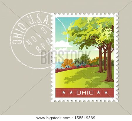 Ohio postage stamp design.  Vector illustration of park overlooking lake erie. Grunge postmark on separate layer