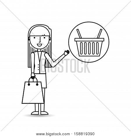 drawing girl shopping with basket buy vector illustration eps 10