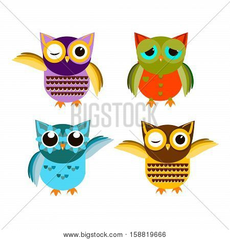 Cute vector owl characters showing different species include screech owl long-eared owl snowy owl great horned owl barn owl and great grey owl. Owl icons vector illustration. Cartoon owl design.