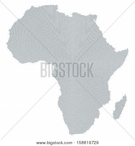 Africa map radial dot pattern. Gray dots going from the center outwards forming the silhouette of the African continent with Sinai peninsula and Madagascar. Illustration on white background. Vector.
