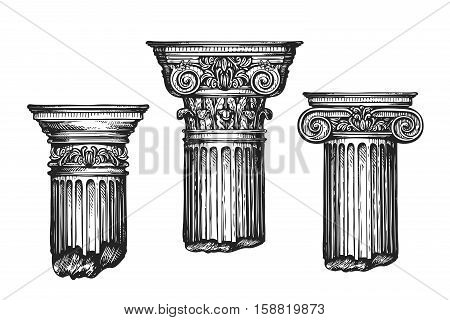 Hand drawn set architectural classical orders. Sketch vector illustration isolated on white background