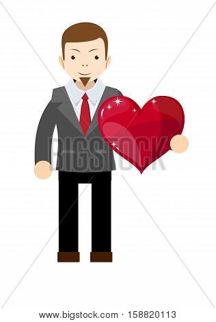 Business man holding heart . Stock vector illustration