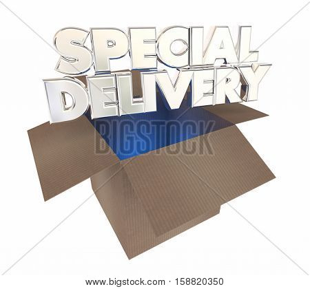 Special Delivery Cardboard Box Shipment Opening 3d Illustration