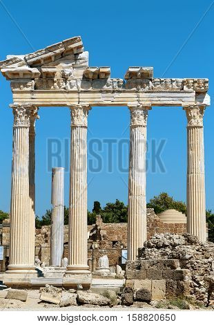 Photo scenery from the temple of Apollo in Side Turkey