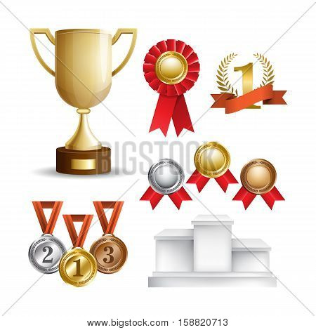 Set of trophy award icons isolated on white background. Golden cup, awards and medals. Vector illustration