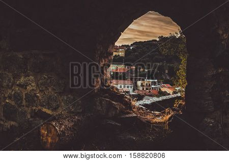STARI BAR MONTENEGRO - September 2016: The old Bar city view from ancient ruins of fortress Landscape Crna Gora. View from window concept sunset background. European travel. Text place copy space.