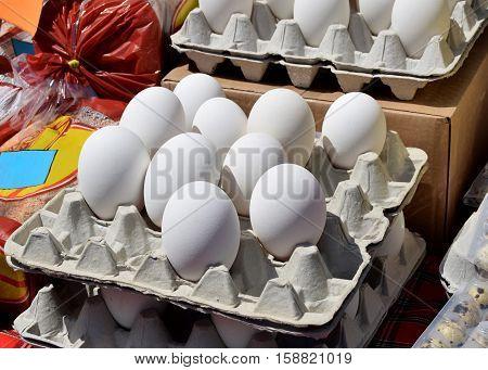 Fresh goose eggs in Birmingham city market
