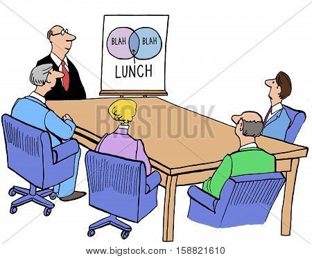 Color business illustration about a meeting that has lasted too long and is ready to break for lunch.