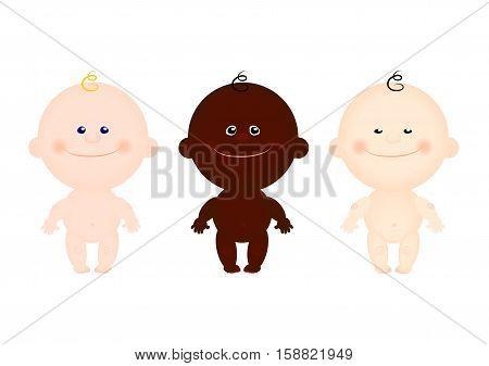 vector set children kids Asian black white naked