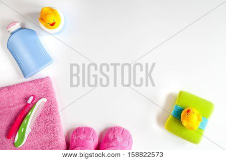 baby accessories for bath on white background top view