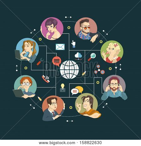 Cartoon and Icons. Concept Internet comunications. Vector illustration.