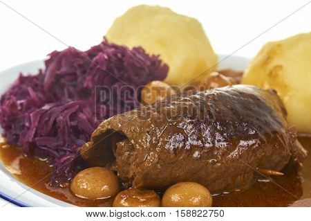 Plate With Bavarian Roulade With Dumpling And Blue Cabbage