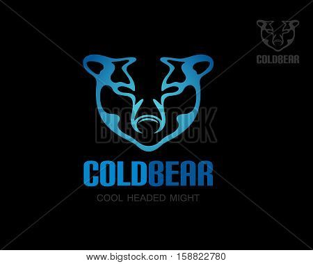 Polar bear logo template. White bear head silhouette design. Isolated vector icon on black background