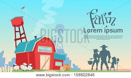 Silhouette Farmers Family Building Farmland Countryside Landscape Flat Vector Illustration