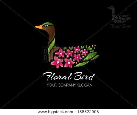 Floral bird logo template. Swimming duck with floral wings icon. Vector illustration. Concept for wedding sites beauty or spa salons floristic firms.