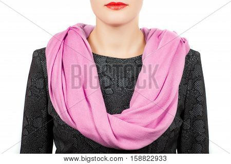 Silk Scarf. Pink Silk Scarf Around Her Neck Isolated On White Background.