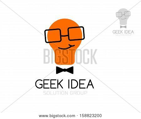 Geek idea logo template. Light bulb in glasses. Vector illustration. Concept for education application creative business schools internet stores develop firms and other.