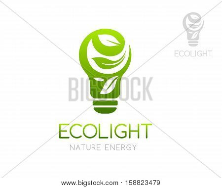 Green light bulb with laves ornament. Logo template. Concept for organic product store eco friendly brand environment organization company working with alternative energy or innovation technology.