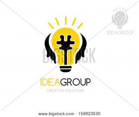 Social innovation logo template. Light bulb with brain in center and man faces above. Vector illustration. Concept for learning creative business innovation brands science forums and chats
