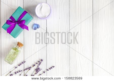 baby bath salt with lavender on wooden background top view