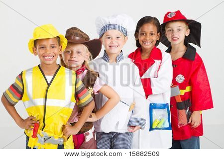 group of kids in uniforms costumes poster