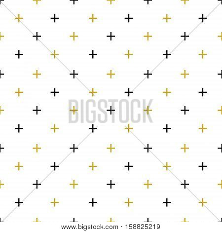 Geometric memphis pattern with plus signs in black gold and white colors. Seamless background in hipster fashion style. Abstract vector illustration.