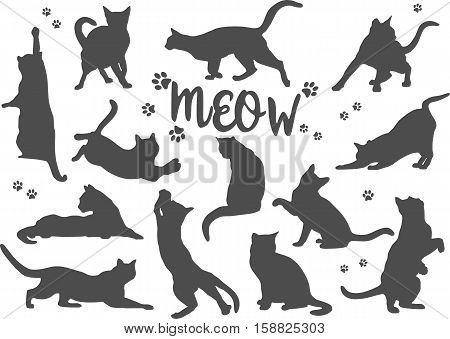 Set of patterns of different black silhouettes of cats isolated on white background in flat style.