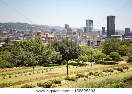 Johannesburg cityscape as seen from Sandton Park