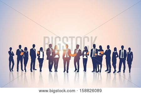 Business People Team Crowd Silhouette Businesspeople Group Human Resources Vector Illustration