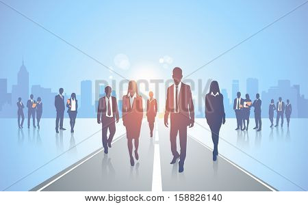 Business People Team Wolk Road Crowd Silhouette Businesspeople Group Human Resources Vector Illustration