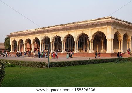 AGRA, INDIA - FEBRUARY 14 : Diwan-i-Am, or Hall of Public Audience, at Agra Fort, UNESCO World heritage site in Agra. Uttar Pradesh, India on February 14, 2016.