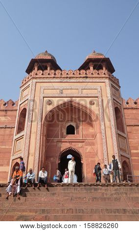 FATEHPUR SIKRI, INDIA - FEBRUARY 15 : Historical city constructed by Mughal emperor Akbar in Fatehpur Sikri, Uttar Pradesh, India on February 15, 2016.