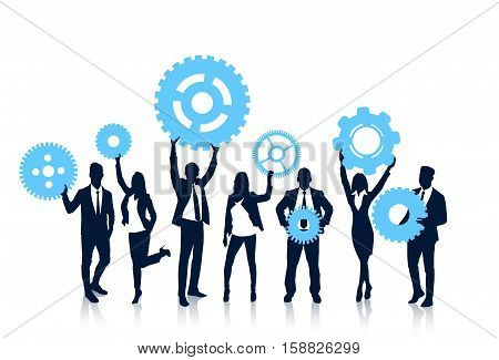 Business People Team Hold Cogwheel Crowd Silhouette Businesspeople Group Human Resources Collaboration Vector Illustration