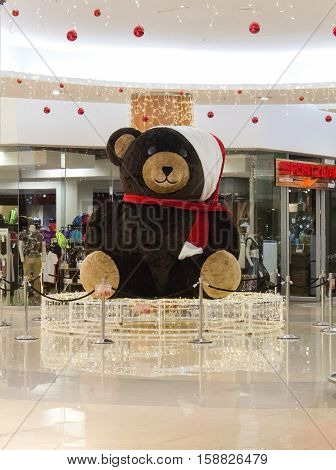 Johannesburg, South Africa - December 18, 2015: Christmas decoration Teddy Bear in shopping mall before Christmas eve.