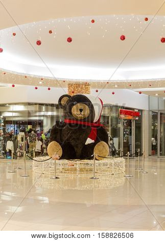 Johannesburg, South Africa - December 18, 2015: Christmas decoration Teddy Bear in shopping mall Bedford Center. Christmas eve.