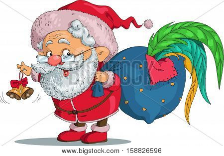 Vector. Funny cartoon. Santa Claus and a rooster in the bag. Santa Claus ringing a bell and wakes him. Isolated objects.